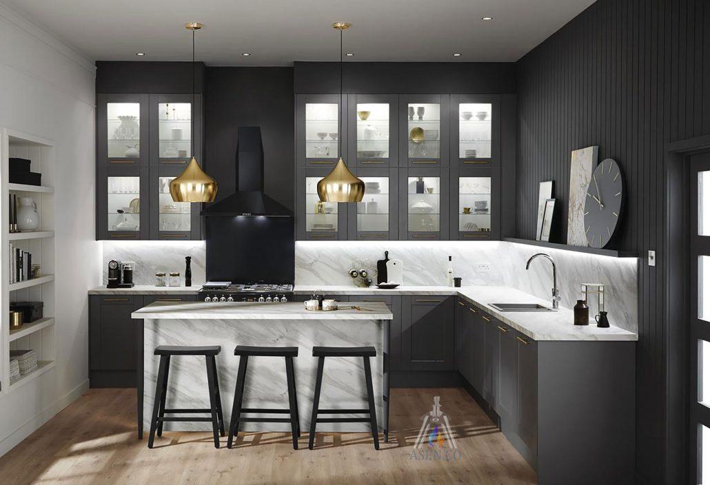 آشپزخانه L جزیره ای